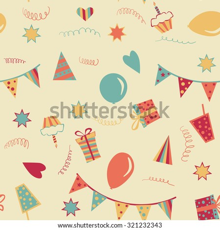 happy birthday seamless background with gifts, cakes, hearts and other decorations - stock vector