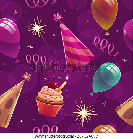Happy Birthday seamless pattern. Vector illustration. - stock vector