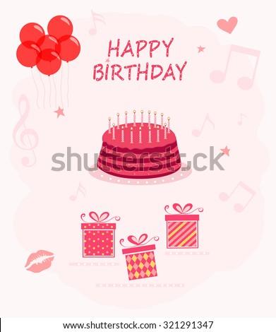 Happy Birthday set - stock vector