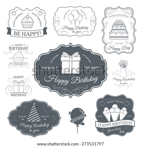 Happy birthday set label template of emblem element for your product or design, web and mobile applications with text. Vector illustration with thin lines isolated icons on stamp symbol.  - stock vector