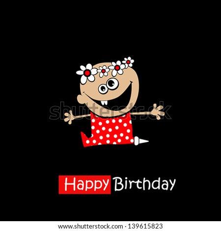 Happy Birthday Smile baby on a black background - stock vector