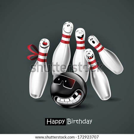 Happy Birthday smile bowling - stock vector