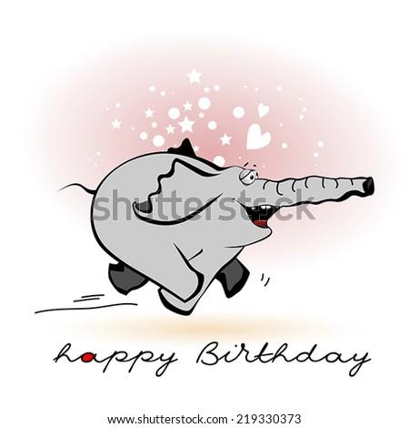 Happy Birthday smile elephant - stock vector