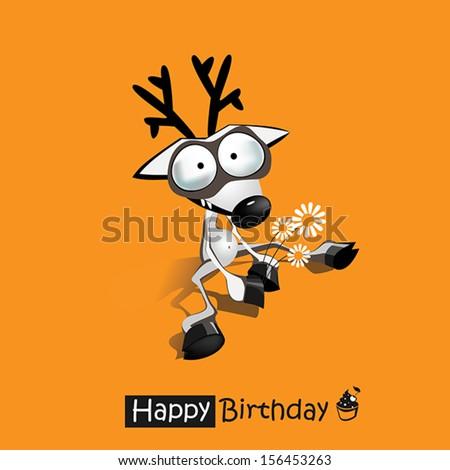Happy Birthday smile funny deer  - stock vector