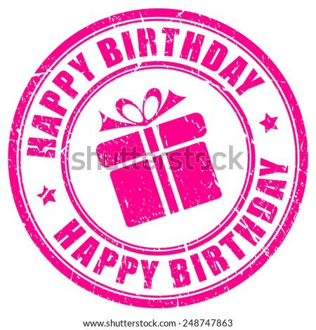 Happy birthday stamp - stock vector