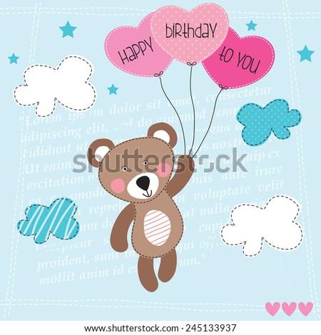 happy birthday teddy bear with balloons vector illustration - stock vector