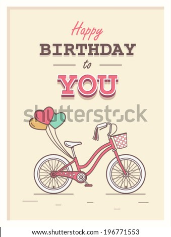 Happy birthday to you hipster postcard with child bicycle on background and retro lettering - stock vector