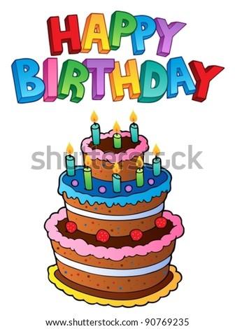 Happy Birthday topic image 1 - vector illustration. - stock vector