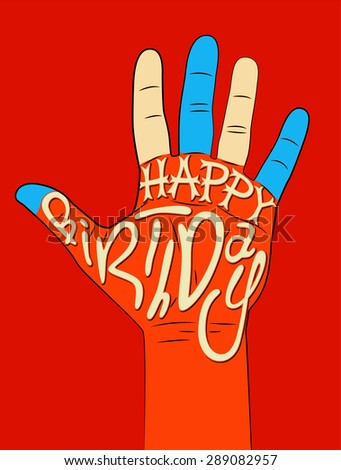Happy Birthday! Typographical retro Birthday Card. Vector illustration. - stock vector