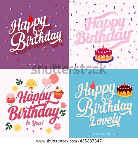 Happy Birthday Typography, Vintage Style Hand lettering. Retro Vintage Custom Typographic Composition . Calligraphic Phrase. Happy Birthday celebration card - stock vector