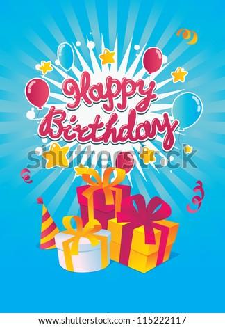 Happy Birthday vector card - stock vector