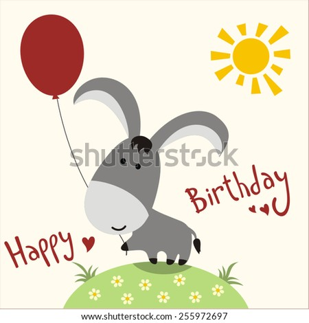 Happy birthday - vector card funny donkey with balloon, handwritten text. - stock vector