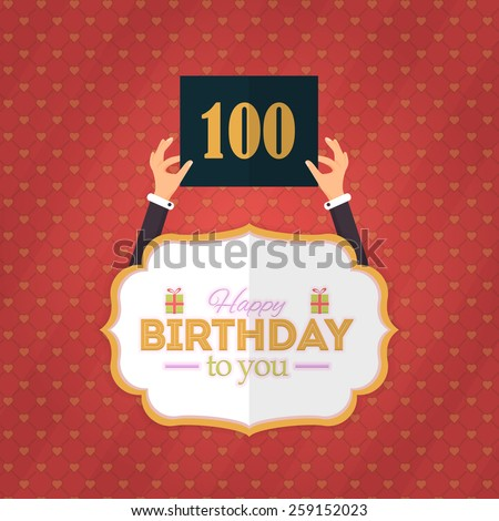 Happy Birthday Vector Design. Announcement and Celebration Message Poster, Flyer Flat Style Age Hundred - stock vector