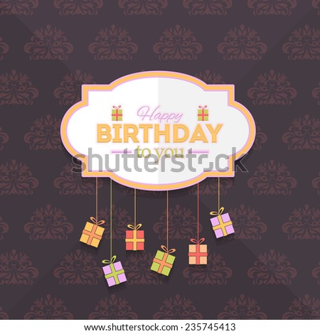 Happy Birthday Vector Design. Announcement and Celebration Message Poster, Flyer on Brown Background  - stock vector