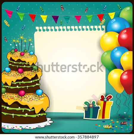 Happy Birthday with a sheet of paper with balloons and cake-space to insert your text-transparency blending effects and gradient mesh-EPS10 - stock vector