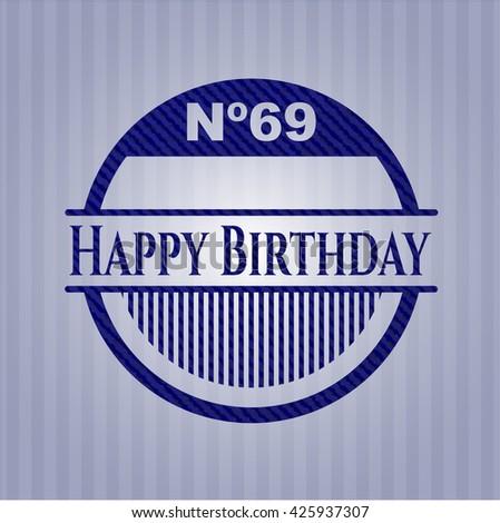 Happy Birthday with denim texture - stock vector