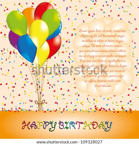 Happy bithday background with balloon - stock vector
