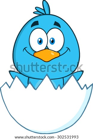 Happy Blue Bird Cartoon Character Hatching From An Egg. Vector Illustration Isolated On White - stock vector