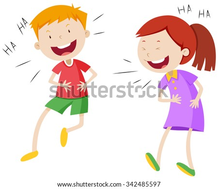 Happy boy and girl laughing illustration - stock vector