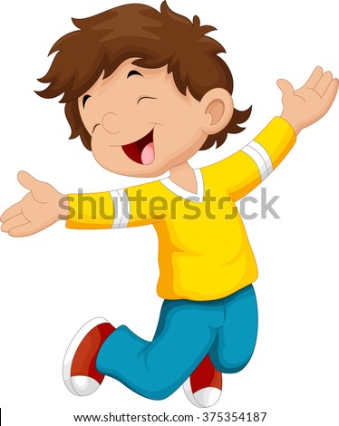 Happy boy and jump - stock vector