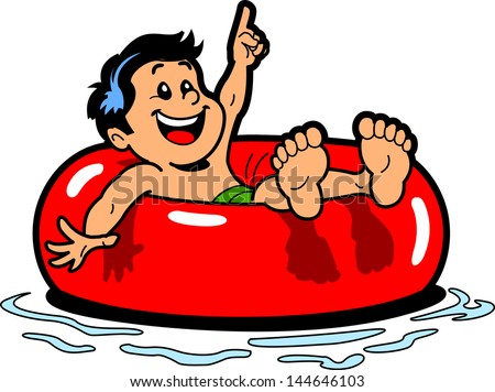 Happy Boy Floating on an Inner Tube in the Water - stock vector