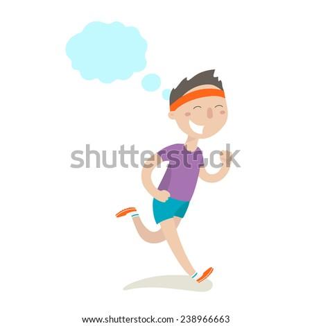 Happy boy on morning jog - stock vector