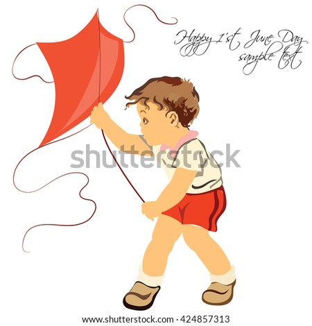 Happy boy playing with his kite. Isolated on white background. Hand made Vector illustration for Children's Day or Birthday - stock vector