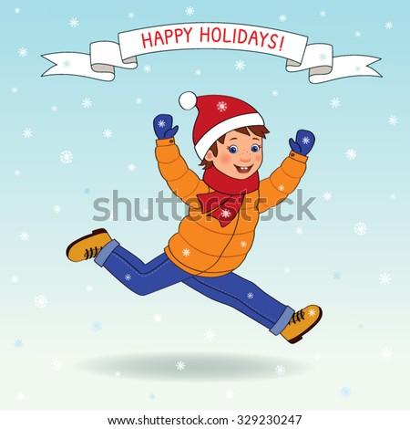 Happy boy running in winter clothing, snow falls, wishes - happy holidays, cartoon vector - stock vector