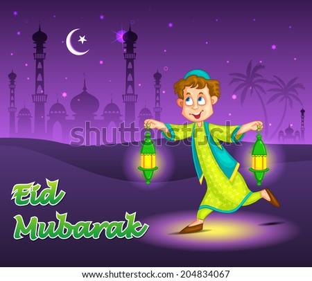 Happy boy running with fanoos for Eid in vector - stock vector