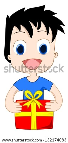 Happy boy with a gift - stock vector