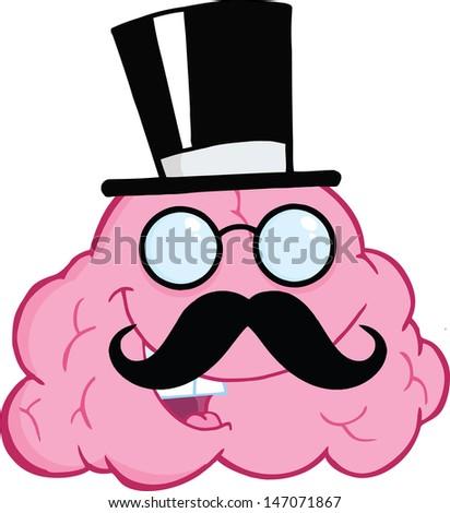 Happy Brain Gentleman Cartoon Character - stock vector