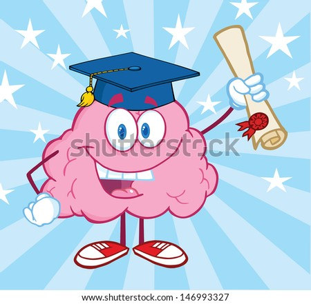 Happy Brain Graduate Holding up A Diploma. Vector Illustration - stock vector
