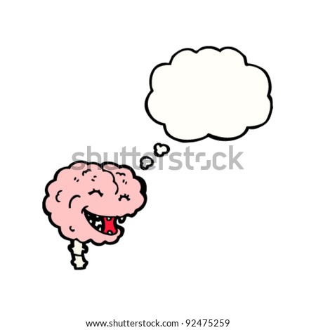 happy brain with thought bubble - stock vector