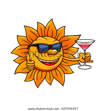 Happy bright hot sun cartoon character in sunglasses is drinking cocktail and giving thumb up sign. Great for summer vacation, weekend leisure activity  and traveling design - stock vector