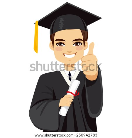 Happy brown haired boy on graduation day with diploma and making thumbs up hand gesture - stock vector