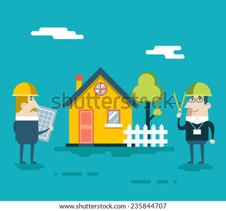 Happy Builder Designer Engineer Foreman Characters House Real Estate Fence Tree Icon Concept Flat Design Vector Illustration - stock vector