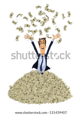 happy business man in a heap of money. vector illustration isolated on white background. - stock vector