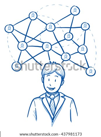 Happy business man, with network lines and icons, concept for social network team. Hand drawn line art cartoon vector illustration. - stock vector