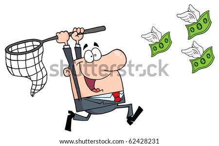 Happy Businessman Chasing Money - stock vector