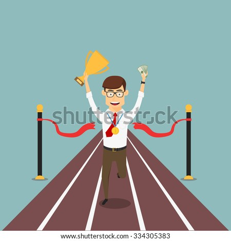 Happy businessman crosses finish line with trophy cup, gold medal and money, for business competition or success themes design - stock vector