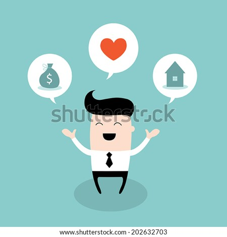 Happy businessman dream about bright future. Business success concept. Vector illustration. - stock vector