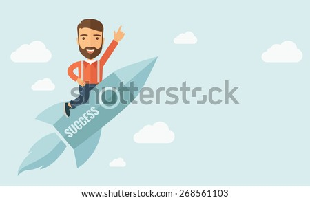 Happy businessman flying on a rocket with caption success and showing direction of movement suited for business start up concept design.A Contemporary style with pastel palette, soft blue tinted - stock vector