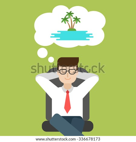 Happy Businessman in the office dreaming about vacation on tropical island  - stock vector