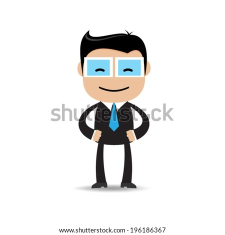 Happy businessman in various poses - stock vector