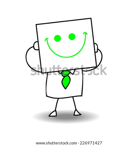 Happy businessman. Joe is holding a sheet of paper on which is drawn a happy face. he is very happy, it is a metaphor of the joy of life and of the cheerfulness - stock vector