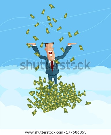 happy businessman playing with falling currency note, Profit making concept - stock vector