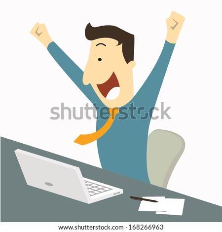 Happy businessman raising hands with clenched fists, sitting at his working desk with laptop and paper note, being excited and cheerful. Representing to getting a job or having a good news. - stock vector
