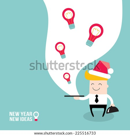 Happy businessman wearing Santa Claus hat and serve ideas on the plate. New Year - New Ideas. Merry Christmas, business people! Business success and profit concept. Vector illustration - stock vector