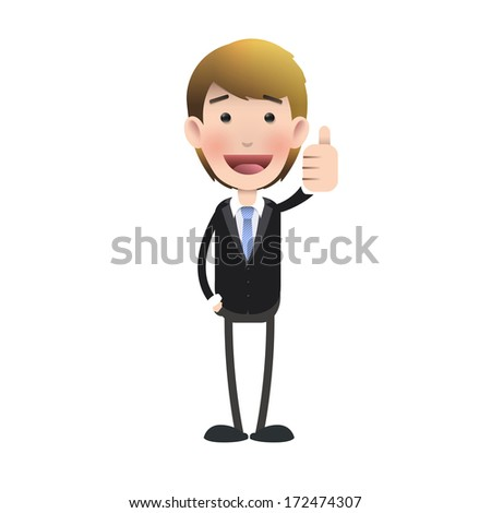 Happy businessman with his thumb up over isolated background. Vector design.  - stock vector