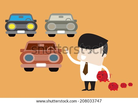 Happy businessman with piggy bank buying car. Saving and investment concept. Vetor EPS 10. - stock vector